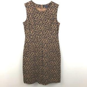 Lands End Sheath Sleeveless Leopard Dress 6